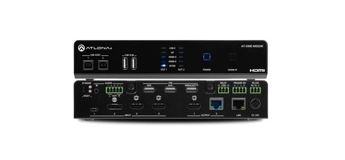 Atlona Omega 5x2 4K/UHD multiformat matrix switcher, with Wireless casting ,HDMI, USB-C, Display port, and USB pass through over HDBaseT for Europe (AT-OME-MS52W-EU)