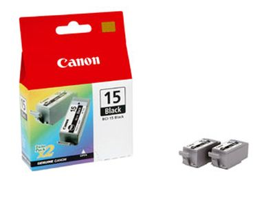 CANON BCI-15BK ink cartridge black standard capacity 2 x 5.3 ml 2 x 121 pages 2-pack (8190A002)