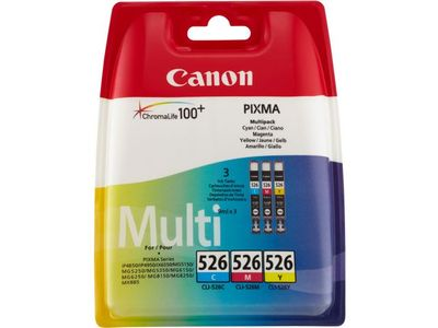 CANON CLI-526 C/M/Y ink cartridge cyan, magenta and yellow standard capacity 3 x 9ml combo-pack (4541B009)