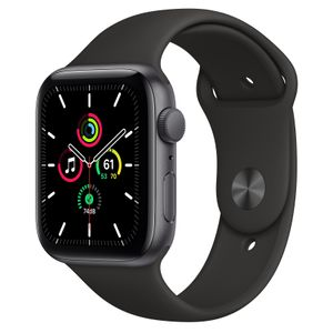 APPLE Watch Series SE GPS 44mm Aluminiumgehäuse Space Grau Sportarmband Schwarz (MYDT2FD/A)