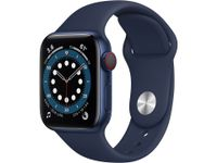 APPLE Watch Series 6 GPS + Cellular, 40mm Blue Aluminium Case with Deep Navy Sport Band (M06Q3KS/A)
