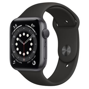 APPLE Watch Series 6 44mm grå/sort Watch Series 6 GPS, 44mm SpaceGray Aluminium Case med Black Sport Band - Regular (M00H3DH/A)