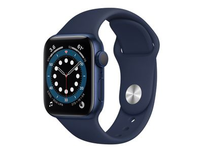 APPLE Watch Series 6 40mm blå/blå Blue Aluminium Case med Deep Navy Sport Band - Regular (MG143DH/A)