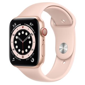 APPLE Watch Series 6 44mm 4G gull/rosa Gold Aluminium Case with Pink Sand Sport Band - Regular (MG2D3DH/A)