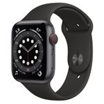 APPLE Watch Series 6 GPS + Cellular, 44mm Graphite Stainless Steel Case with Black Sport Band (M09H3KS/A)