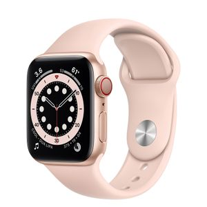 APPLE Watch Series 6 GPS + Cellular, 40mm Gold Aluminium Case with Pink Sand Sport Band (M06N3KS/A)