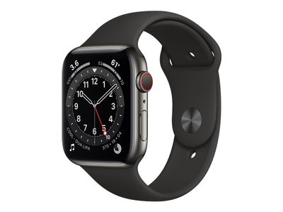 APPLE Watch Series 6 GPS + Cellular, 40mm Graphite Stainless Steel Case with Black Sport Band (M06X3KS/A)