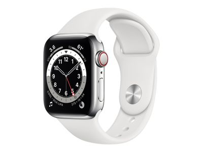 APPLE WATCH S6 GPS+CELL 40MM SILVER STSTEEL CASE W WHITE S/P  IN ACCS (M06T3KS/A)