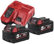 Milwaukee Batteripakke NRG-502, 2×18V/ 5, 0Ah + lader M12-18FC (4933459217)