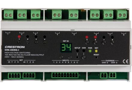 Crestron DIN Rail High-Voltage Switch with Digital Inputs (DIN-8SW8-I)