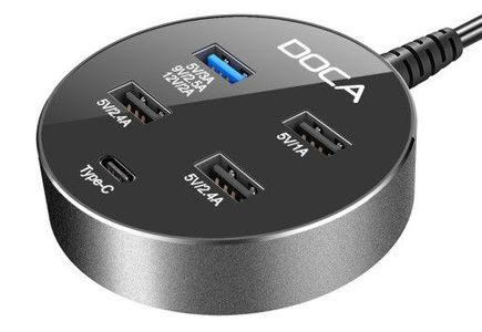 DOCA USB ladestasjon 5 porter Qualcomm Quick Charge 3.0 + USB-C (D576)