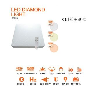 ThorgeOn Diamond Taklampe 72W LED 47x47CM (4751029891877)