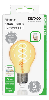 Deltaco Smart Home Spiral LED filament lamp E27 WiFI 2.4GHz 5.5W (SH-LFE27A60S)