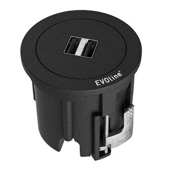 EVOLINE One 2xUSB-lader sort (159280001200)