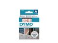 DYMO D1 Tape / 12mm x 7m / Red Text / White Tape