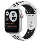APPLE Watch Nike SE GPS + Cellular, 44mm Silver Aluminium Case with Pure Platinum/ Black Nike Sport Band - Regular (MG083KS/A)