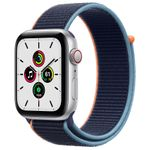 APPLE Watch SE GPS + Cellular, 44mm Silver Aluminium Case with Deep Navy Sport Loop (MYEW2KS/A)