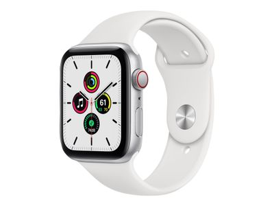 APPLE Watch SE GPS + Cellular, 44mm Silver Aluminium Case with White Sport Band - Regular (MYEV2KS/A)