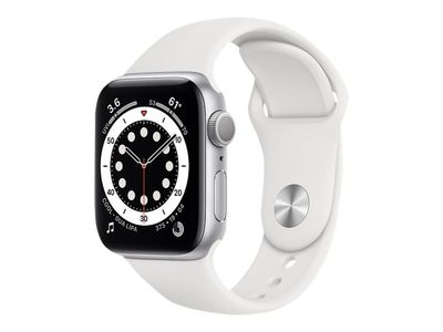 APPLE Watch Series 6 GPS, 40mm Silver Aluminium Case with White Sport Band - Regular (MG283KS/A)