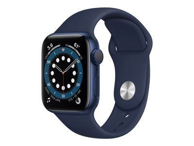 APPLE Watch Series 6 GPS, 40mm Blue Aluminium Case with Deep Navy Sport Band - Regular (MG143KS/A)