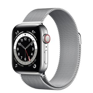 APPLE Watch Series 6 GPS + Cellular, 40mm Silver Stainless Steel Case with Silver Milanese Loop (M06U3KS/A)