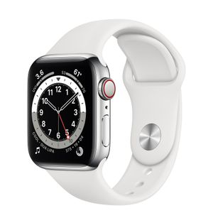 APPLE Watch Series 6 40mm 4G silver/ vit Silver Stainless Steel Case White Sport Band - Regular (M06T3DH/A)