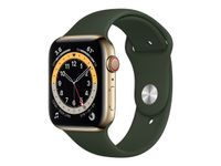 APPLE Watch Series 6 GPS + Cellular, 44mm Gold Stainless Steel Case with Cyprus Green Sport Band - Regular (M09F3KS/A)