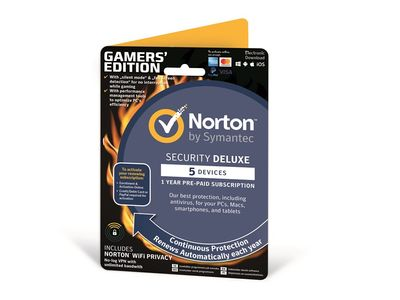 SYMANTEC NORTON SECURITY DELUXE 3.0 WIFI PRIVACY 1.0 1 USER 5 DEVICES GENERIC PROMO ENR CARD DVDSLV BUNDLE (ND) (21386364)
