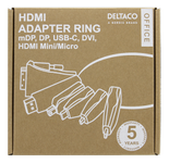 DELTACO Office, HDMI ADAPTER RING, mDP, DP, USB-C, DVI, HDMI C/D, 4K (HDMI-AR2)