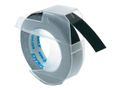 DYMO 3D Tape / 9mm x 3m / White Text / Black Tape
