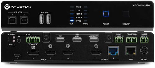 Atlona Omega 5x2 4K/UHD multiformat matrix switcher, with Wireless casting ,HDMI, USB-C, Display port, and USB pass through over HDBaseT (AT-OME-MS52W)