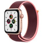 APPLE Watch Series SE 44mm 4G gull/ plomme Gold Aluminium Case med Plum Sport Loop (MYEY2DH/A)