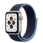 APPLE Watch Series SE 40mm 4G sølv/blå Silver Aluminium Case med Deep Navy Sport Loop (MYEG2DH/A)