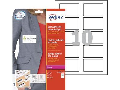 AVERY Self Adhesive Name Badges Silk, White 80 x 50 mm (L4785-20)