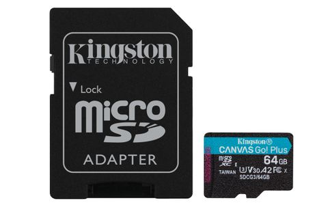 KINGSTON 64GB microSDXC Canvas Go Plus 170R A2 U3 V30 Card + ADP (SDCG3/64GB)