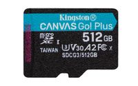 KINGSTON 512GB microSDXC Canvas Go Plus 170R A2 U3 V30 Single Pack w/o ADP (SDCG3/512GBSP)