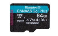 KINGSTON 64GB microSDXC Canvas Go Plus 170R A2 U3 V30 Single Pack w/o ADP (SDCG3/64GBSP)