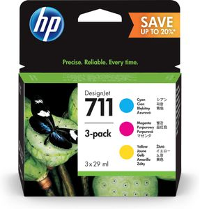 HP No711 CMY ink cartridge,  28ml (3) (P2V32A)