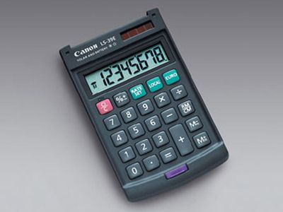 CANON LS-39E pocket calculator handy size with casing 8-digit euro-currency translation (4046A014)