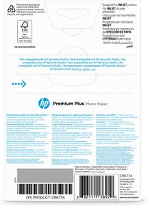 HP Premium Plus Glossy Photo Paper white 300g/m2 100x150mm 25 sheets 1-pack (CR677A)