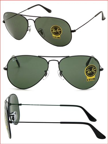 RAY-BAN Aviator Black - Green - Solbriller (RB3025-L2823-5814)