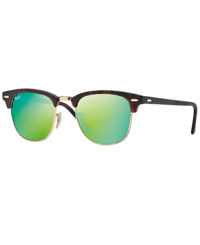 RAY-BAN Clubmaster Tortoise - Solbriller - Green Flash (RB3016-114519-51)