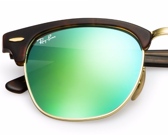 RAY-BAN Clubmaster Tortoise - Green Flash - Solbriller (RB3016-114519-51)