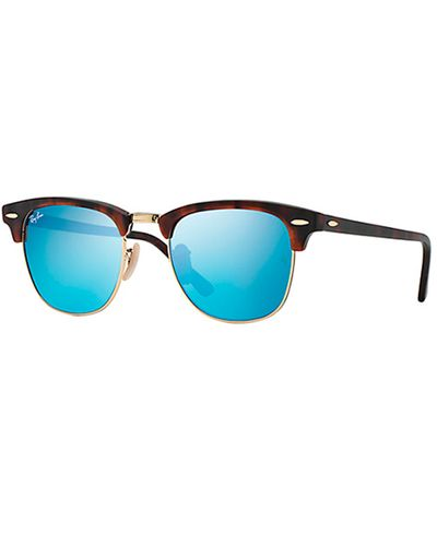 RAY-BAN Clubmaster Tortoise - Solbriller - Blue flash