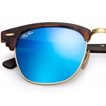 RAY BAN Clubmaster Tortoise Solbriller Blue flash