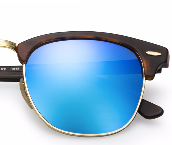 RAY-BAN Clubmaster Tortoise - Solbriller - Blue flash (RB3016-114517-51)