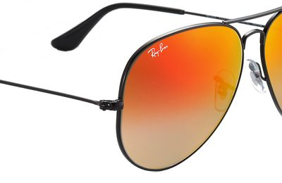 Aviator Shiny Black - Orange Flash - Solbriller
