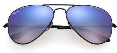 Aviator Shiny Black - Blue Flash - Solbriller