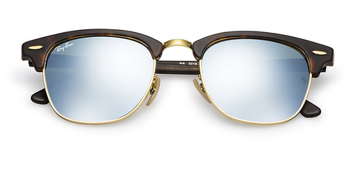 RAY-BAN Clubmaster Tortoise - Silver Mirror - Solbriller (RB3016-114530-51)