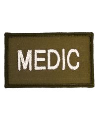 MILRAB MEDIC 8cm x 5cm - Patch - White on Olive (MRABMEDPA-WH)